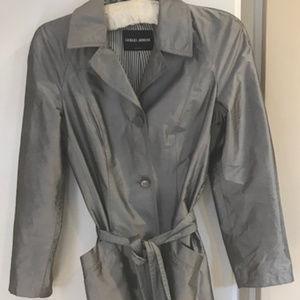 Giorgio Armani Metalic Heather Grey Trench Coat